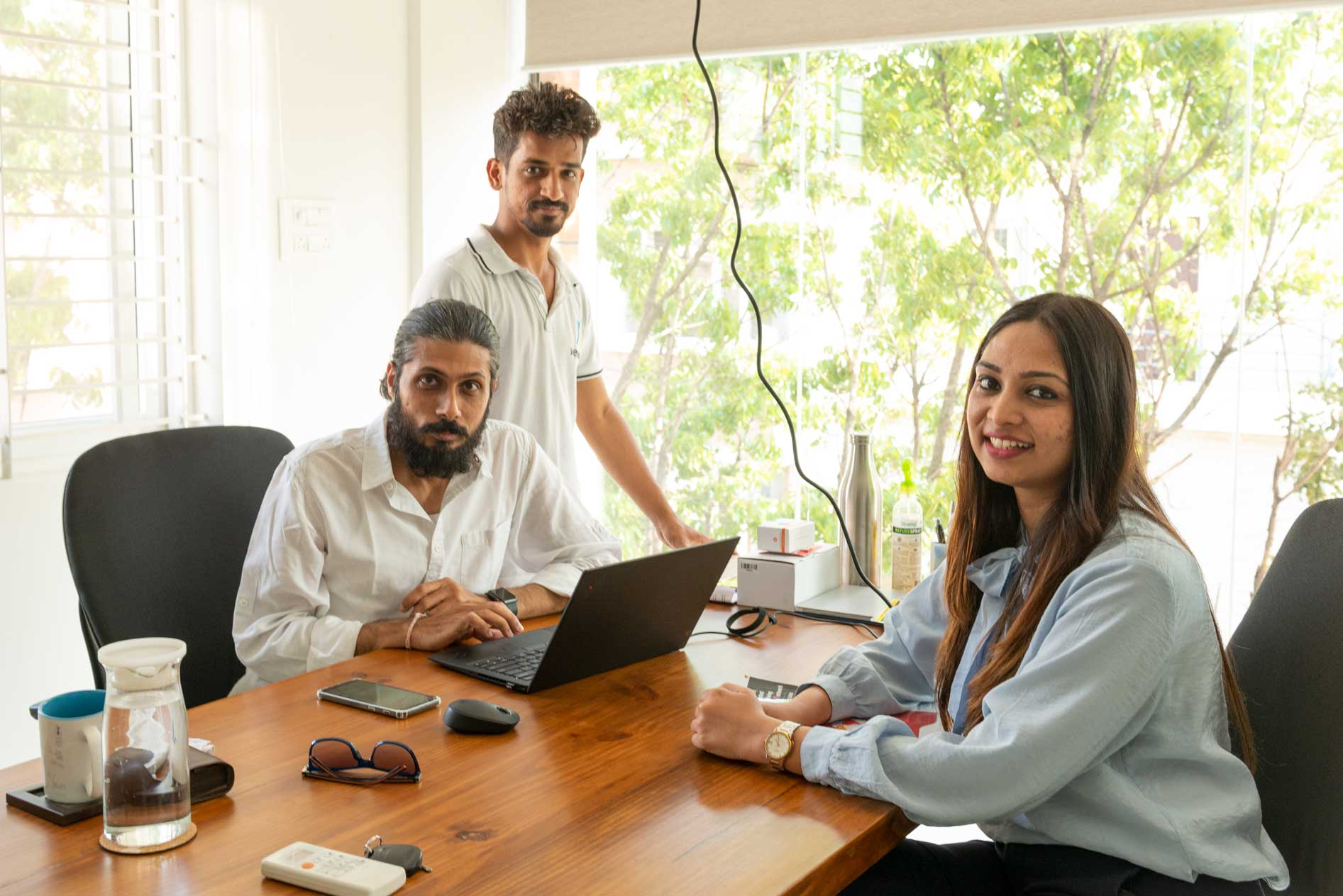 Akshay Markandey, Founder of VersionX, with a few team members